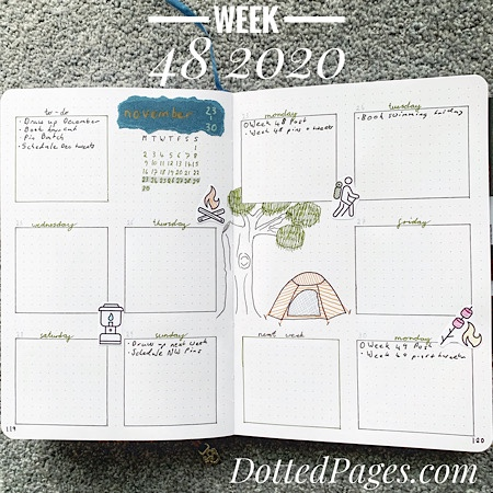 Week 48 2020 Bullet Journal Spread