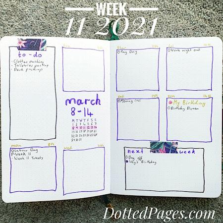 Week 1 2021 Bullet Journal Spread