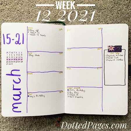 Week 12 2021 Bullet Journal Spread