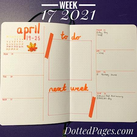 Week 17 2021 Bullet Journal Setup