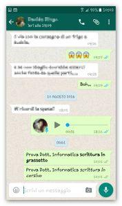 whatsapp scrittura in corsivo