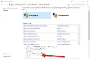 Credenziali web win 10