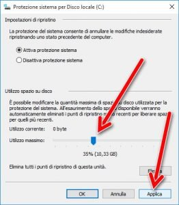 Applica protezione sistema windows 10