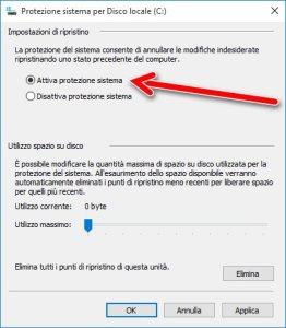 Attiva protezione sistema windows 10