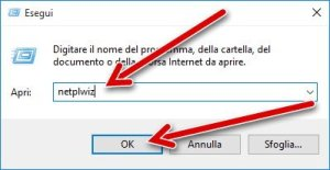 Disattivare password accesso Windows 10 2