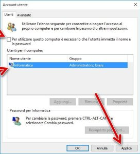 Disattivare password accesso Windows 10