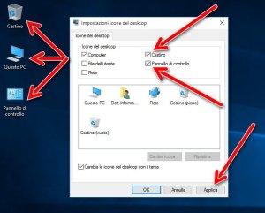 Impostazioni icone del desktop cestino pc pannello controllo