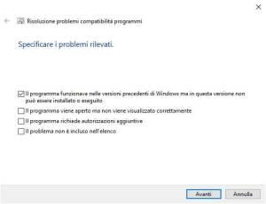 Strumento compatibilità programmi di Windows