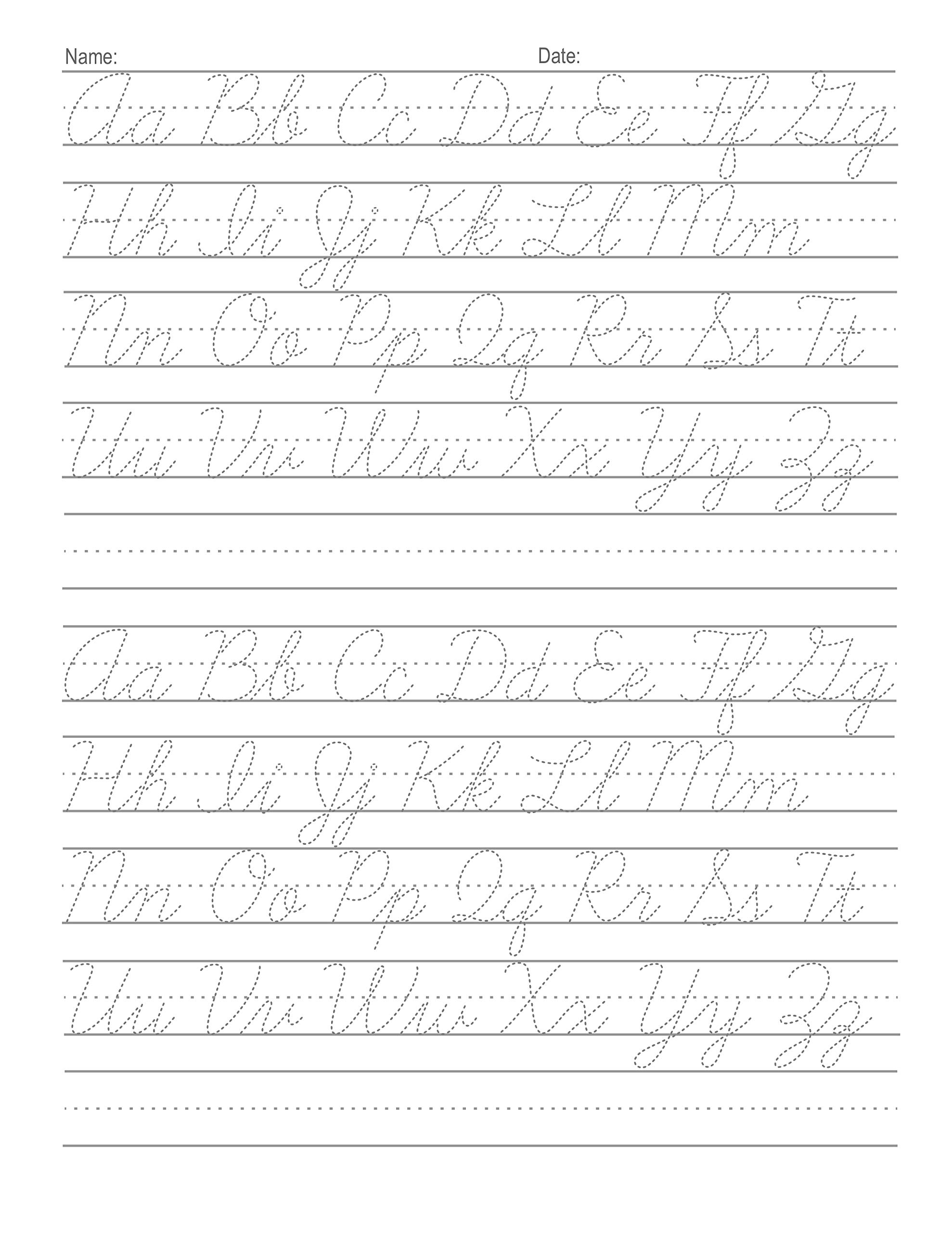 Tracing Cursive Letters Worksheets
