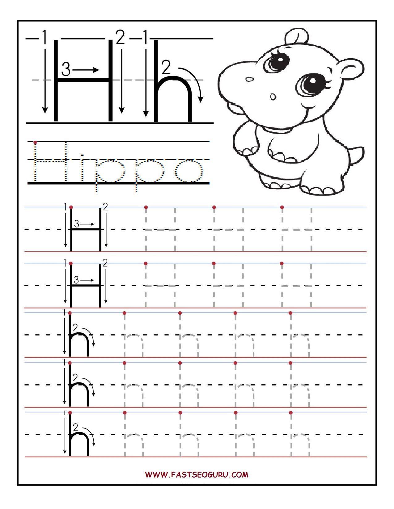 Tracing Letter H Worksheets Preschoolers