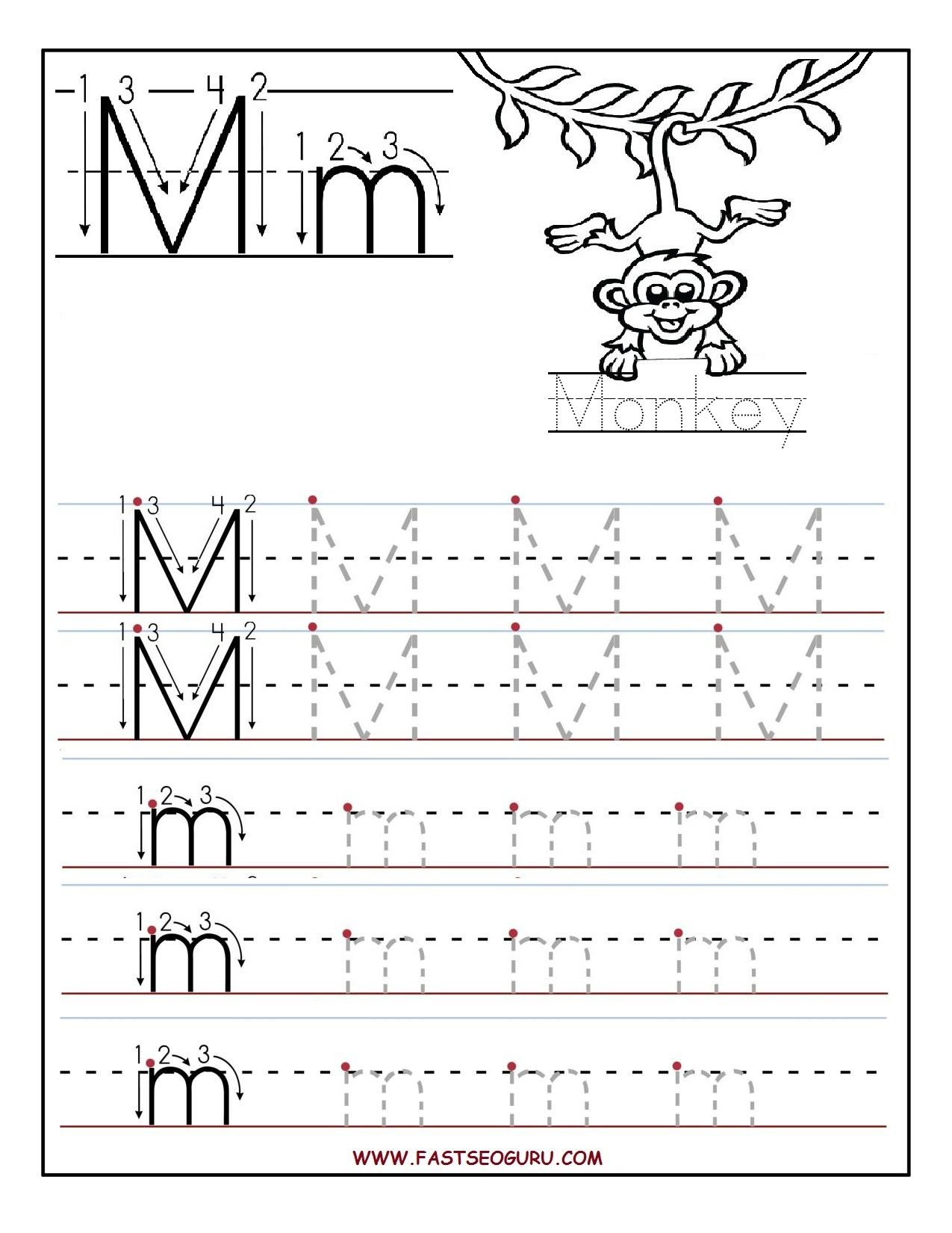 Letter M Template For Preschool Tracing Worksheets