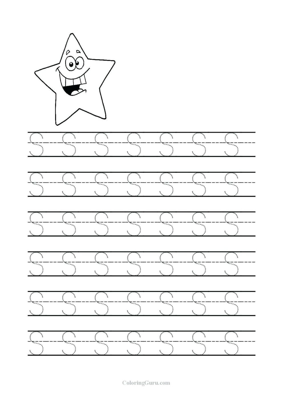 Letter S Tracing Worksheets Preschool