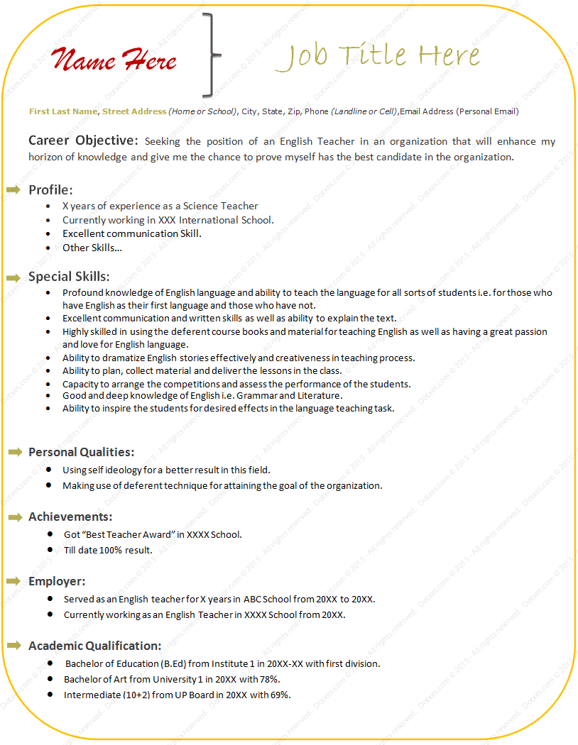 resume format for english teachers cv format for a teacher best teacher resume english teacher cv teachers biodata format oyulaw