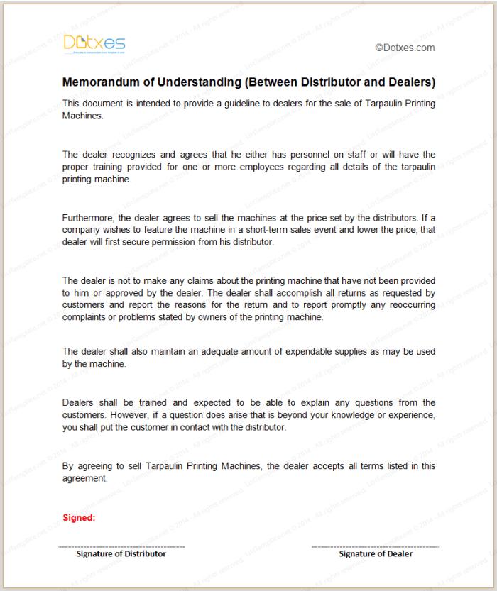 Memorandum of understanding sample template between distributor and dealers