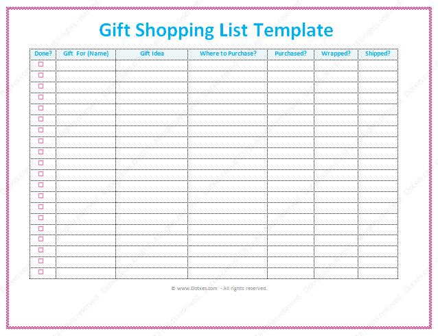 shopping list template word