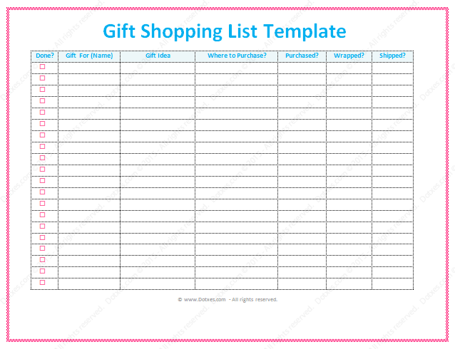 Gift list template for Shopping