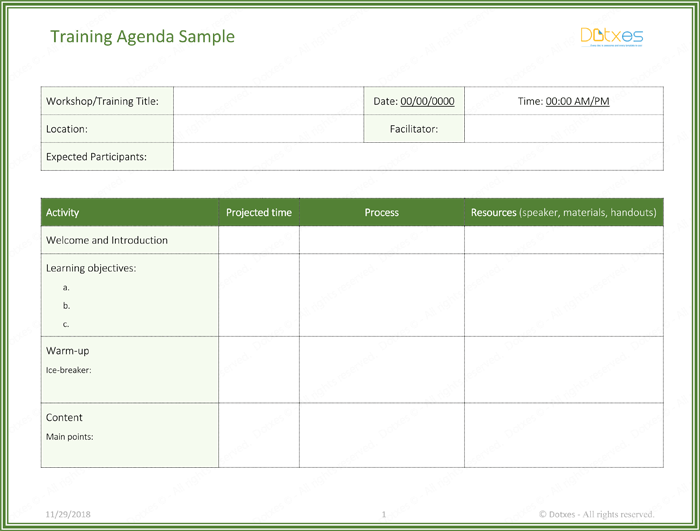 training schedule template word