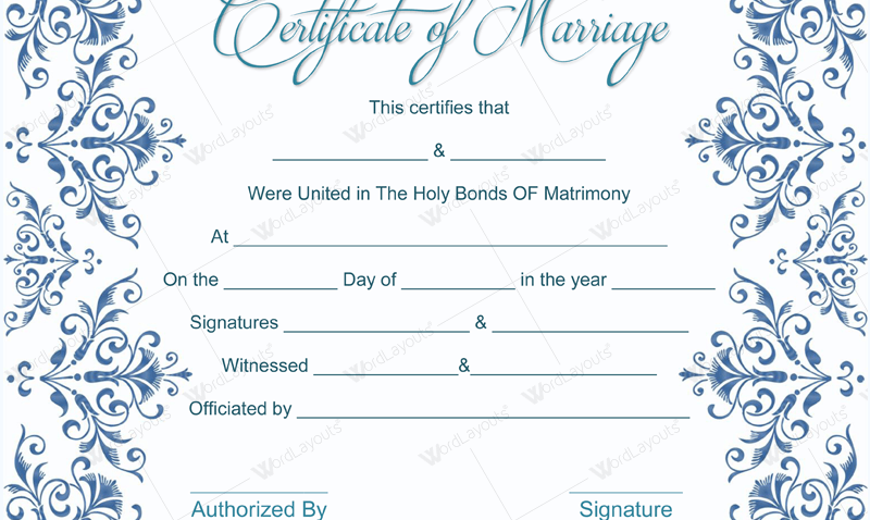 Printable marriage certificate online