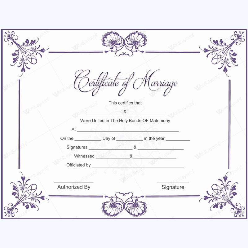 5 plus adorable blank marriage certificate designs for word