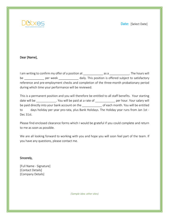 Job-Offer-Letter-Template-for-Word_Page_1 Temp To Hire Offer Letter Template on temporary position, free employee, free real estate, internship job, free purchase, free sample job,