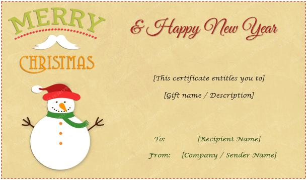Christmas Gift Certificate (Snowman)