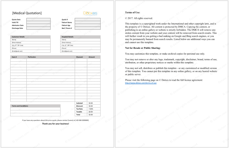 Medical Quotation Template
