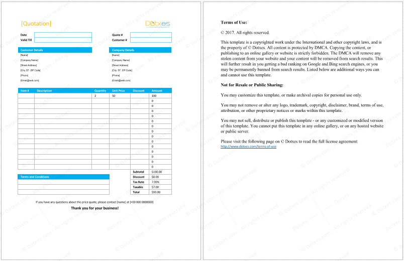 Product Quote Template