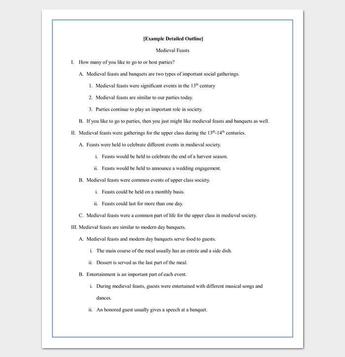 an example of an outline for a research paper