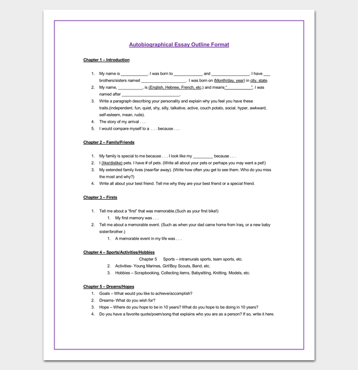 Autobiography Outline Template   Examples And Formats Autobiographical Essay Outline Template The Yellow Wallpaper Essay Topics also Essays Topics For High School Students  Persuasive Essay Sample High School