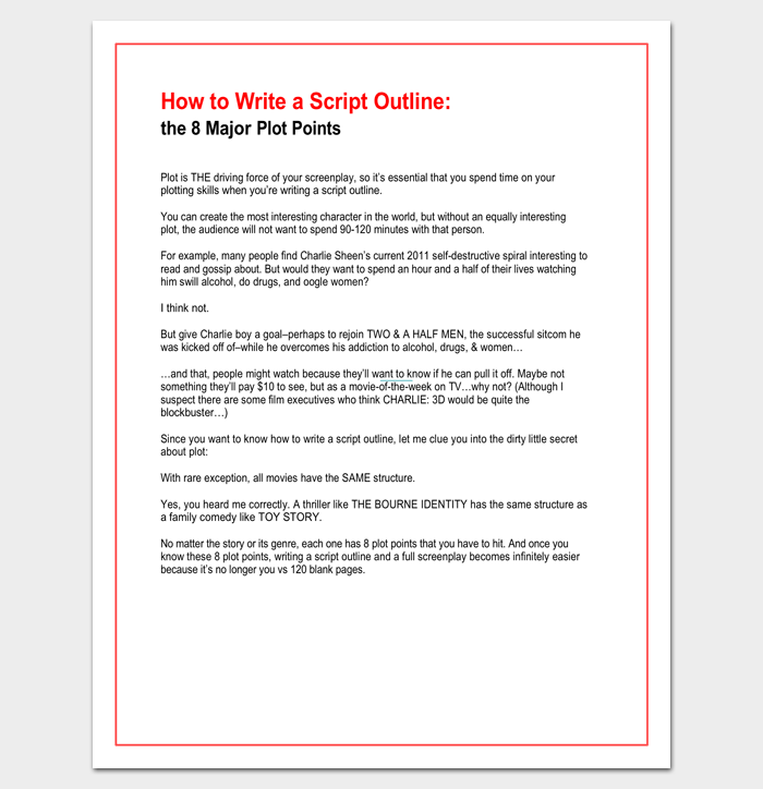 script outline template 12 examples for word pdf format