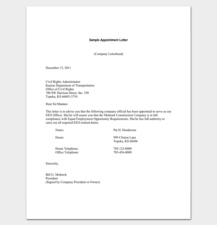 construction company appointment letter sample 1