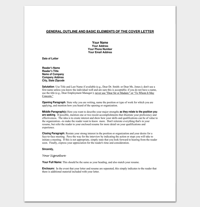 cover letter outline template