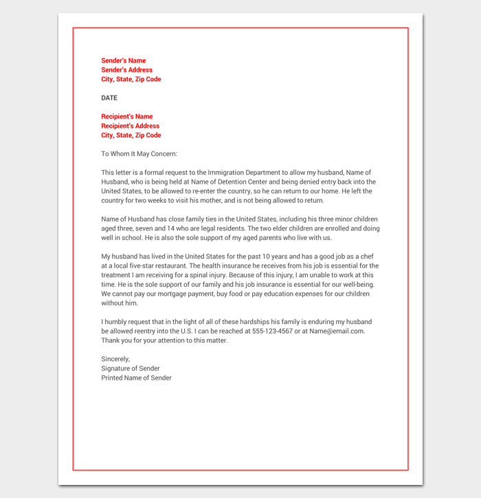 Hardship Letter for Immigration (Word Doc)