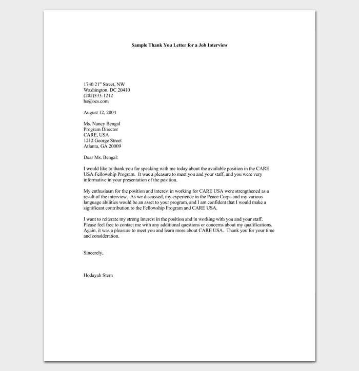 Job Interview Follow Up Letter Sample 1