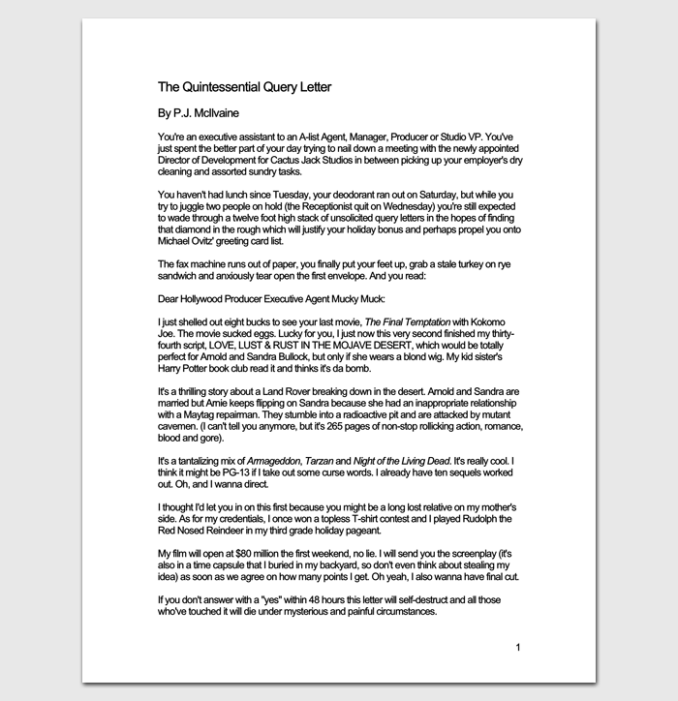 Script query letter example inviview how to write the perfect query letter gallery format formal spiritdancerdesigns Gallery