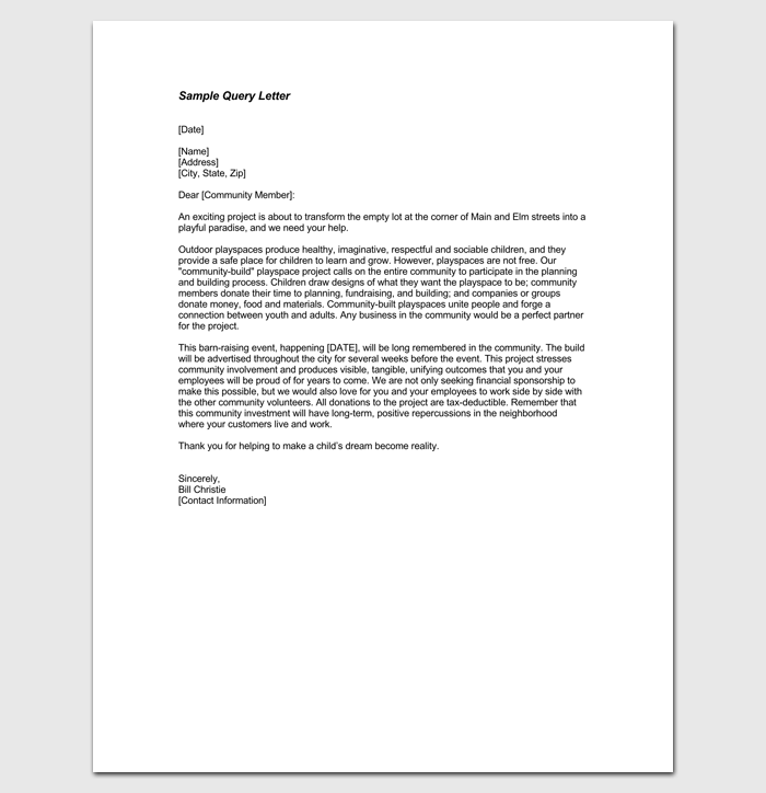 Query Letter Template 7 Formats Samples Examples