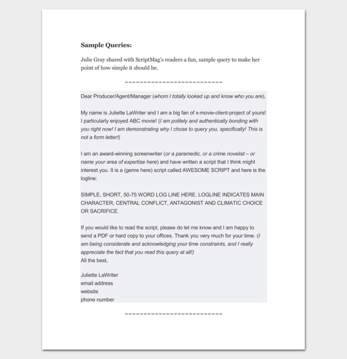 Script query letter format newsinvitation screen writer query letter 1 spiritdancerdesigns