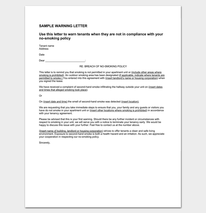 Tenant Warning Letter due to Violation of Policies 1