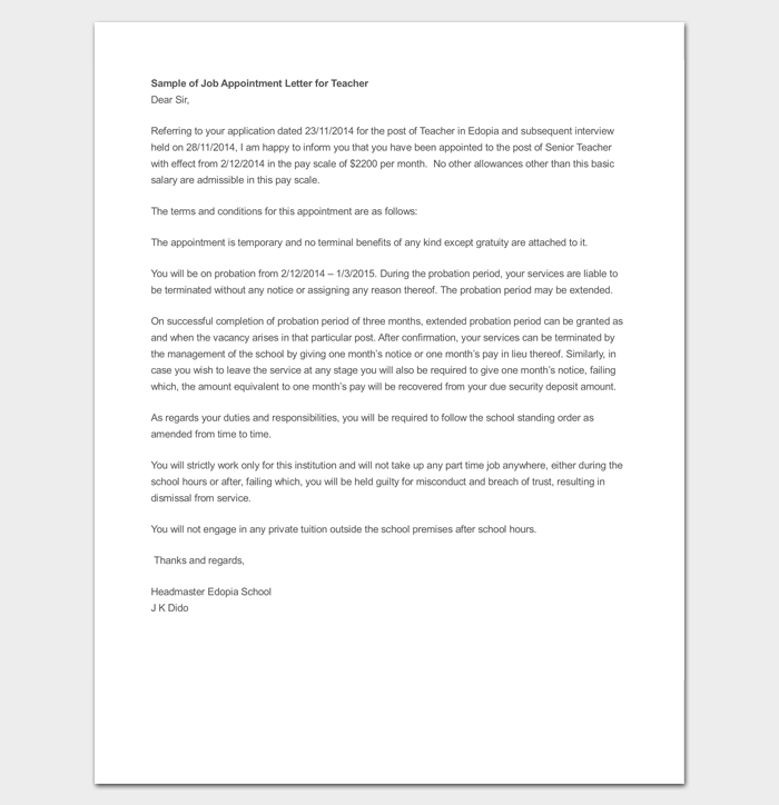 Appointment-Letter-for-Temporary-Teacher-Job Sample Application Letter For Employment In A Hotel on