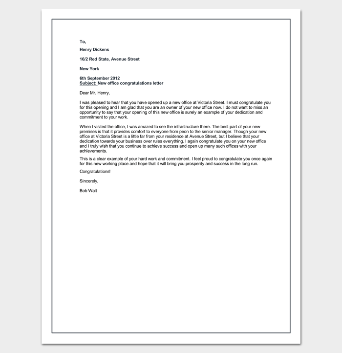Letter Congratulation Example