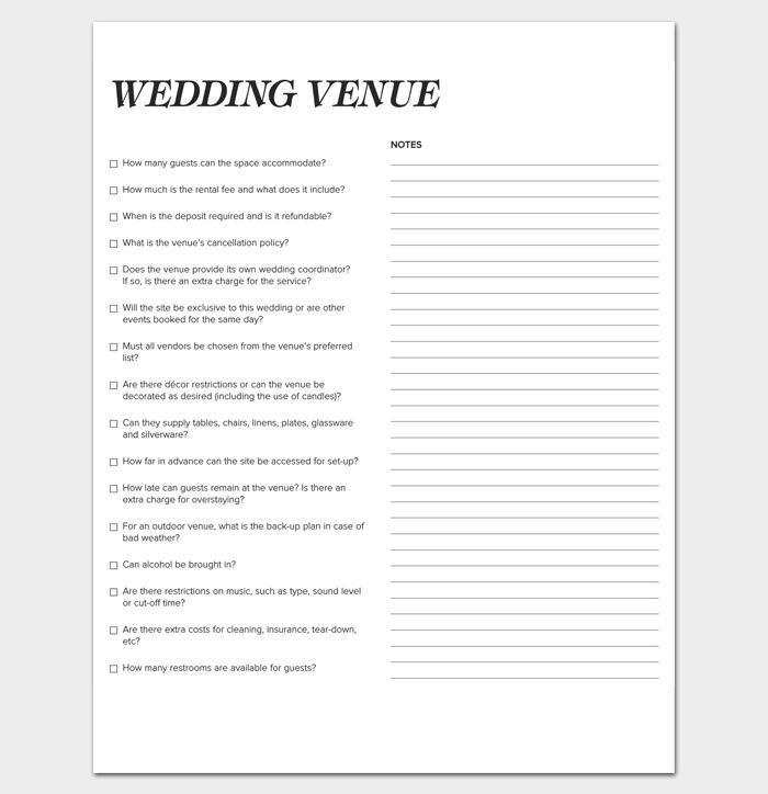 Wedding Venue Checklist 1