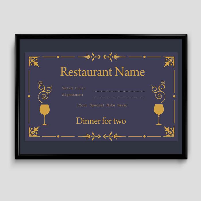 Dinner Gift Certificate Template