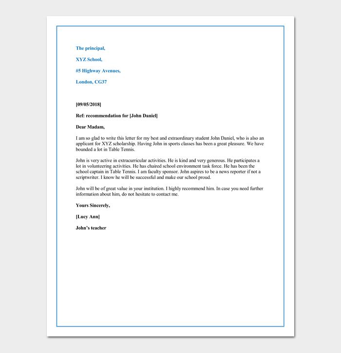 letter of recommendation for a preschool teacher