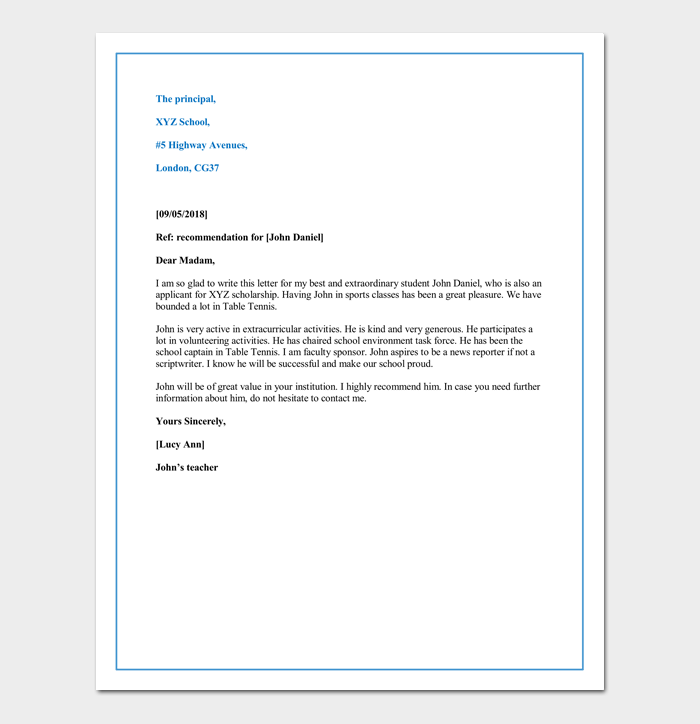 Letter Of Recommendation For First Grade Student Sample Format