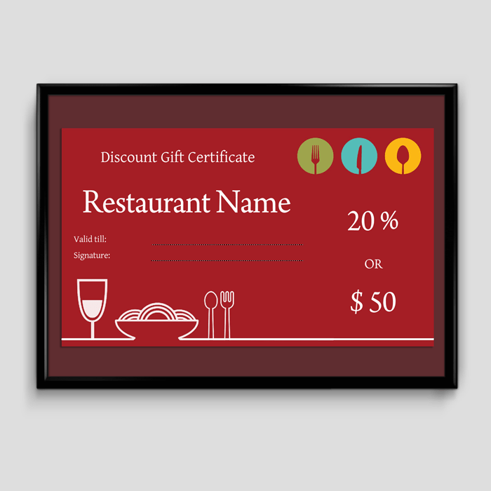 Gift Certificate Template    6 Fillable Certificate Formats For Word Restaurant Gift Certificate Template