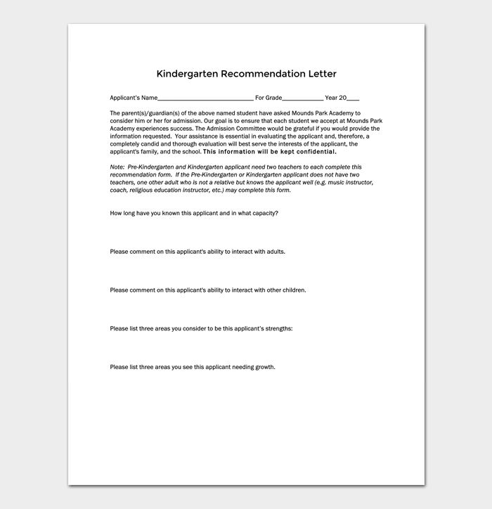 Kindergarten Recommendation Letter 5 Samples Examples Formats