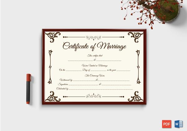 Marriage Certificate Format 7 Blank Editable Formats Dotxes