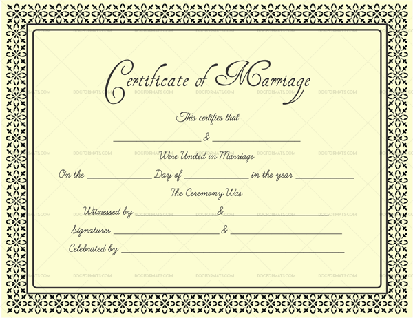 Editable Marriage Certificates For Word Pdf Format Dotxes