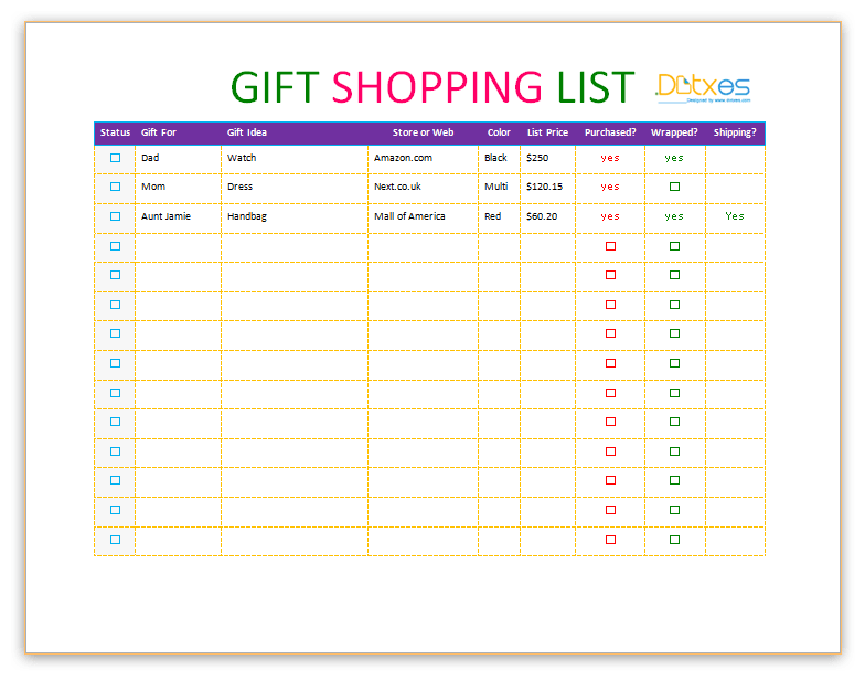 gift shopping list template dotxes