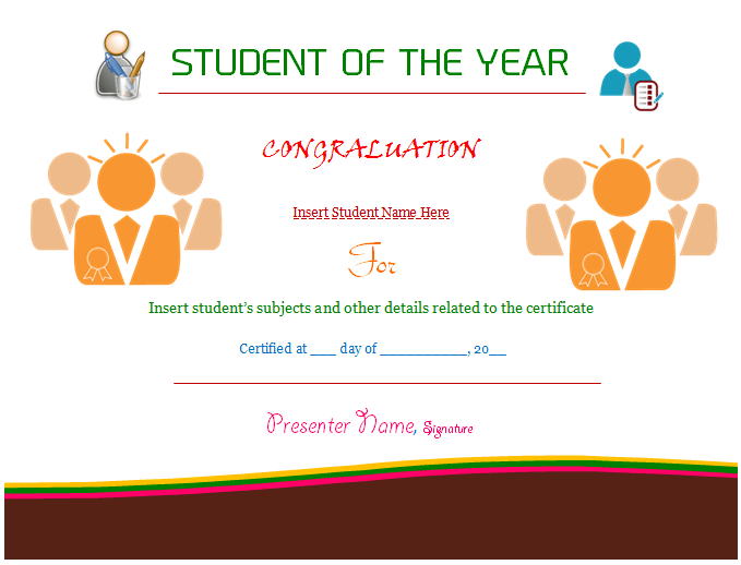 student of the year award certificate templates